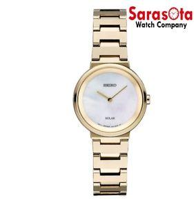 Seiko CORE SUP386 Solar Gold Tone Stainless Steel MOP Dial Dress Women's Watch