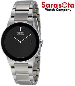 Citizen Eco Drive Axiom AU1060-51E Black Dial Stainless Steel Dress Men's Watch