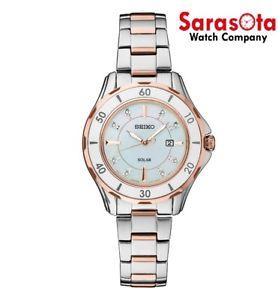 Seiko CORE SUT340 Solar Rose Gold Steel MOP Diamond Dial Dress Women's Watch