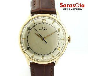 Vintage Omega Bumper Auto 17 Jewel's Gold Filled Brown Leather Strap Men's Watch