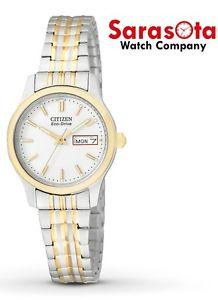 Citizen Eco Drive EW3154-90A White Dial Two Tone Steel Day Date Women's Watch