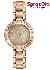 Citizen Eco Drive EM0463-51Y  Rose Gold Tone MOP Dial Diamond Accent Womens Watch