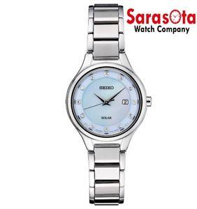 Seiko CORE SUT351 Solar Blue Mother Of Pearl Stainless Steel Dress Women's Watch