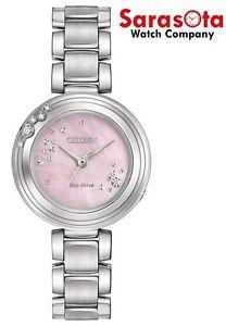 Citizen Eco Drive EM0460-50N Pink MOP Dial Diamond Accented Steel Women's Watch