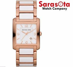 Michael Kors MK4272 Rose Gold Tone/White Ceramic Quartz Rectangular Womens Watch