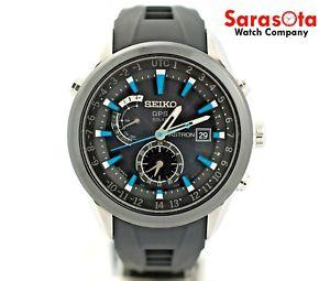 Seiko ASTRON SAST009 GPS Solar Rubber Band Blue Accent Date Sport Men's Watch - Sarasota Watch Company