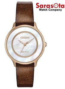 Citizen Eco Drive EM0383-08D MOP Dial Stainless Brown Leather Women's Watch - Sarasota Watch Company