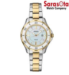 Seiko CORE SUT338 Solar MOP Diamond Dial Two Tone 33mm Dress Women's Watch
