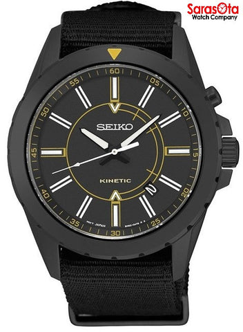 Seiko SKA705 Black Ion Plated Steel Black Nylon Band Kinetic Men's Watch