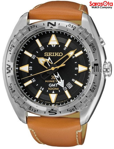 Seiko SUN055 GMT Stainless Steel Brown Leather Kinetic Dress Men's Watch