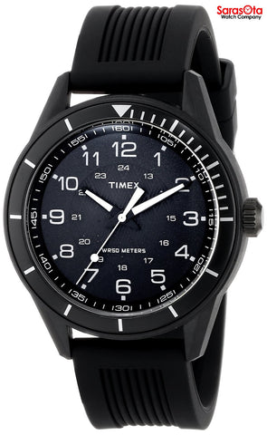 Timex T2P383 Elevated Classics Black Dial Stainless Steel Rubber Men's Watch