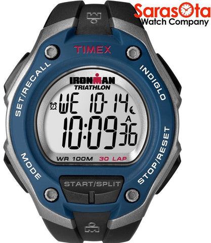 Timex T5K528 Ironman 30 Lap WR100 Black/Silver/Blue Resin Band Sport Mens Watch