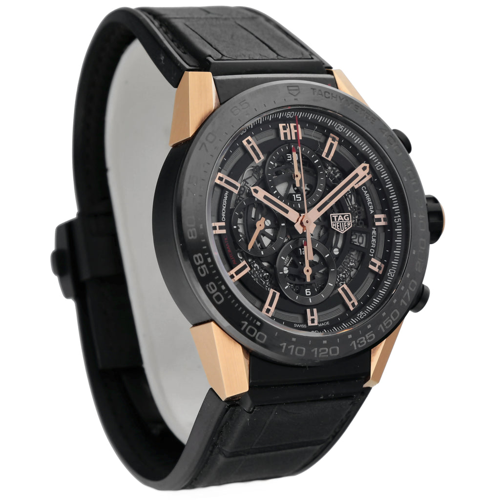 Tag Heuer Carrera CAR2A5A Chrono 18k Rose Gold Black PVD Rubber Auto Men's Watch