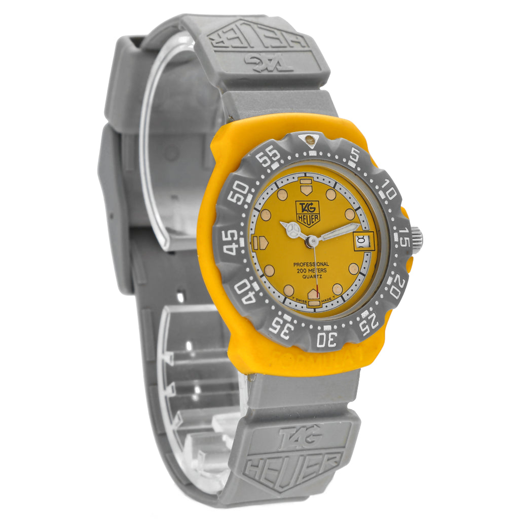 Tag Heuer Professional 382.513 Yellow Dial Grey Silicone 35mm Quartz Wrist Watch