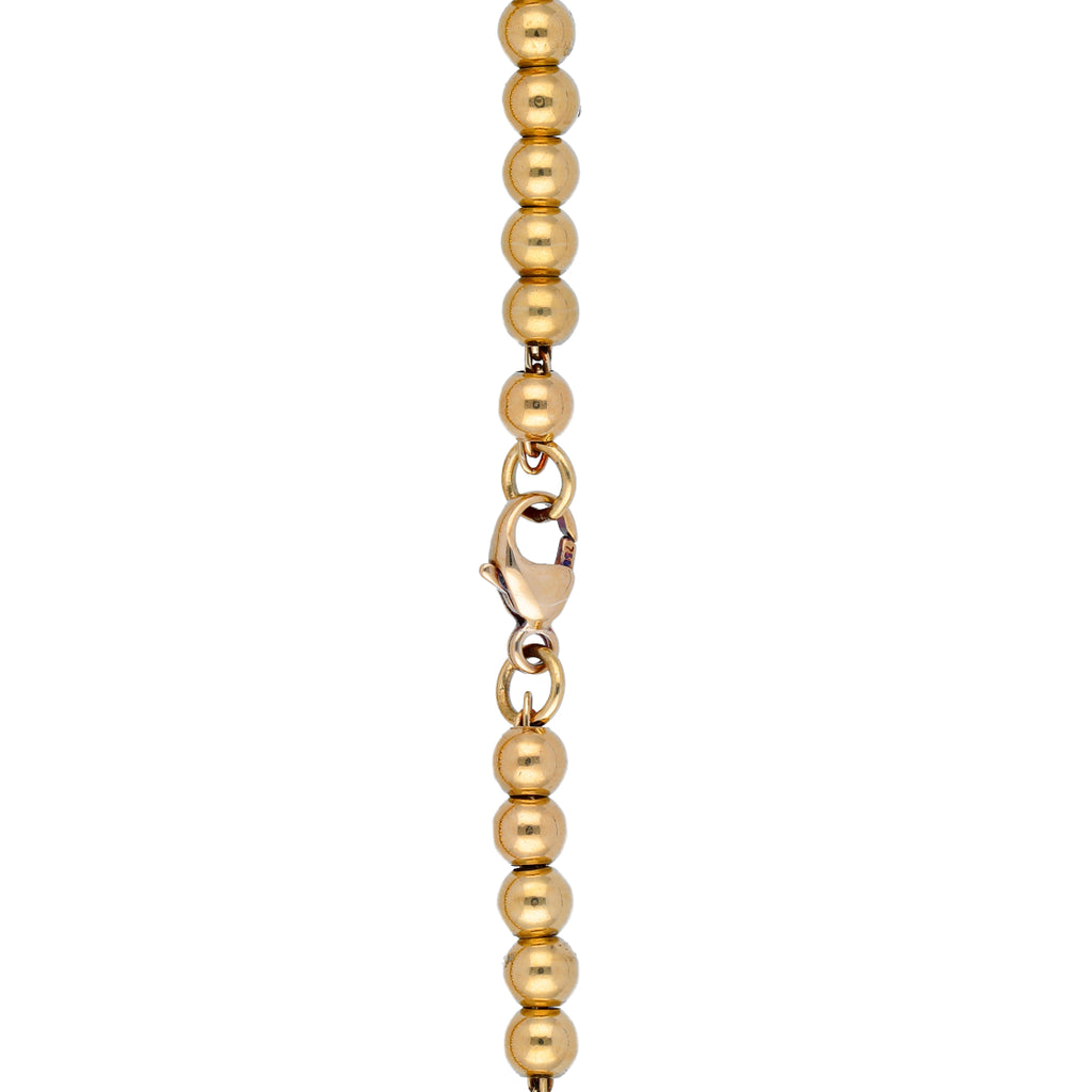 Tiffany & Co Return To Mini Heart Tag 18k Yellow Gold Bead Chain Bracelet 6.75""