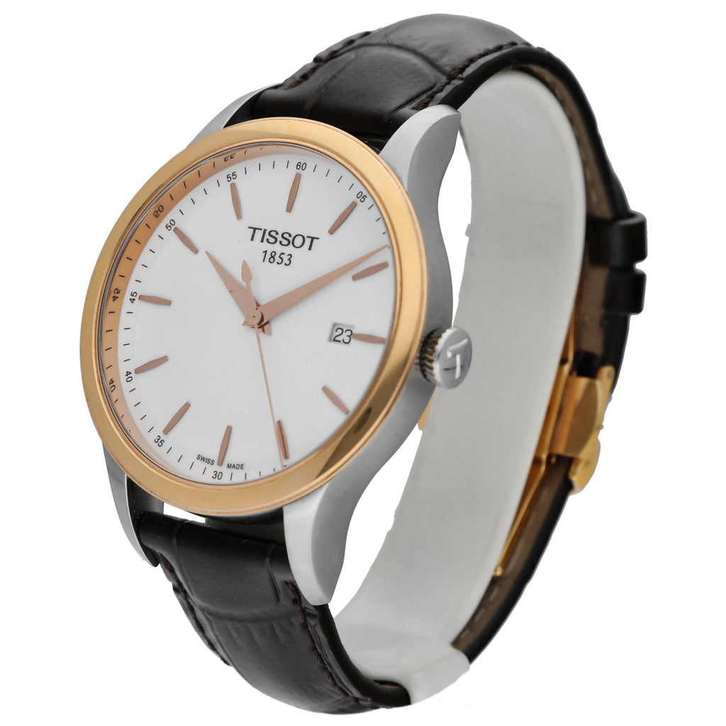 Tissot T912.410.46.01.100 Two Tone Rose Gold/Steel Leather Quartz Men's Watch