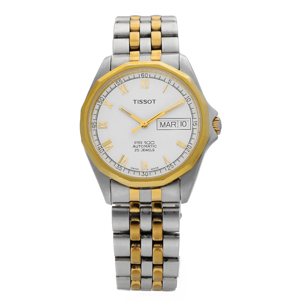 Tissot PR100 Day/Date White Dial Two Tone Steel Automatic 25 Jewels Men's Watch
