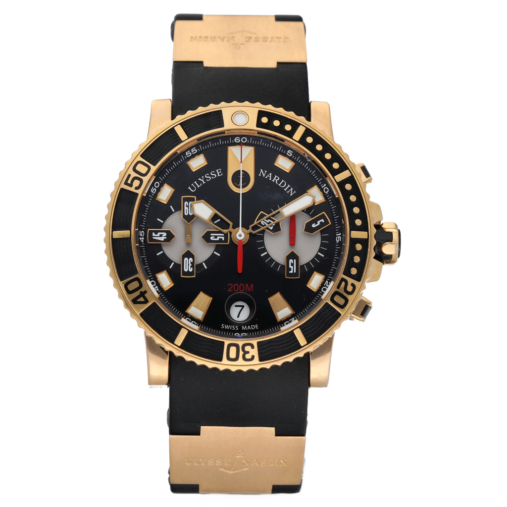 Ulysse Nardin 8006-102 Marine Diver Chrono 18k Yellow Gold Rubber Men's Watch