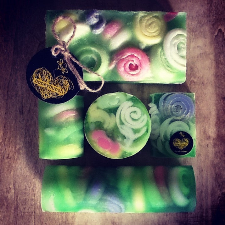 floral fantasy goats milk, manuka honey soap .....