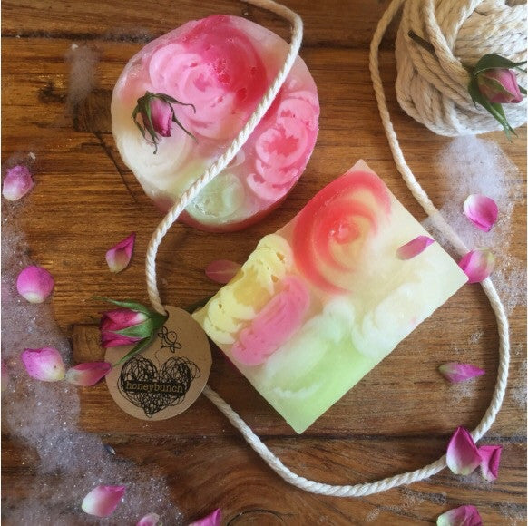 romantic rose goats milk, manuka honey soap .....
