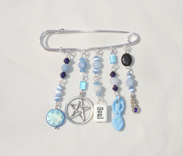 Blue Goddess, Gemstone, Pentagram Safety Pin Brooch with Color Changing Mood Beads