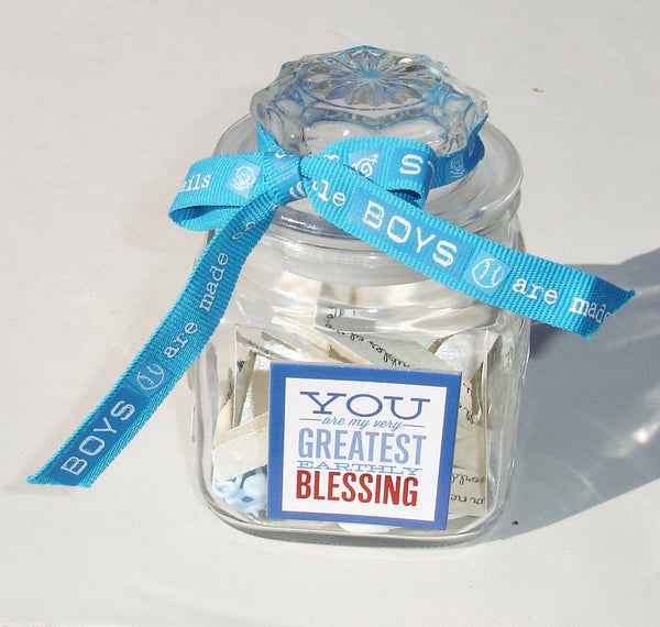 Baby Boy Blessing Jar - OOAK - Baby Shower Gift