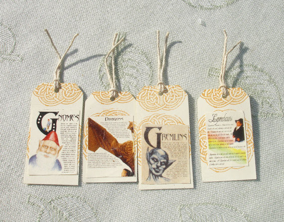 Four Magical Creature Hang Gift Tags - Handmade by Harmonee's Creations