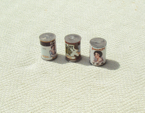 3 Container Cans Doll House Miniature - 1/12 Scale - 3 pcs