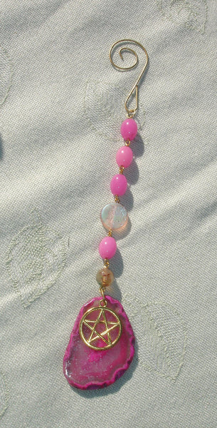 Beaded Pentagram Gemstone Sun Catcher