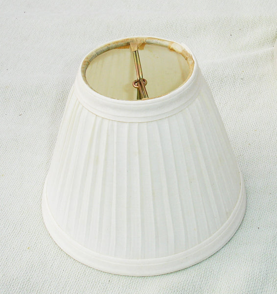 Small White Ruffled Lamp Shade - 4 inch by 5 inch - Fits on Bulb