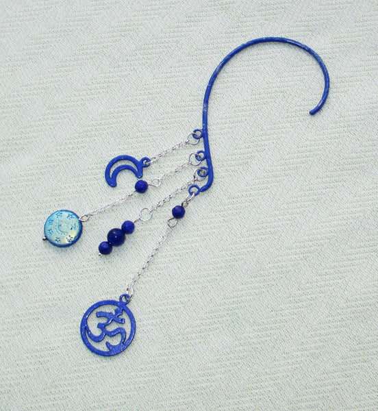 Blue Om Gemstone Earring Cuff handmade jewelry