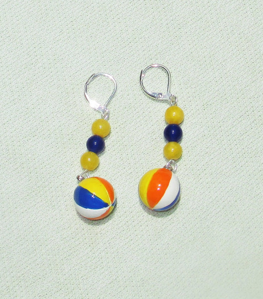 Summer Beach Ball Gemstone Dangle Earrings with European Leverbacks