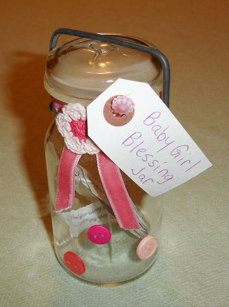Baby Girl Blessing Jar - OOAK