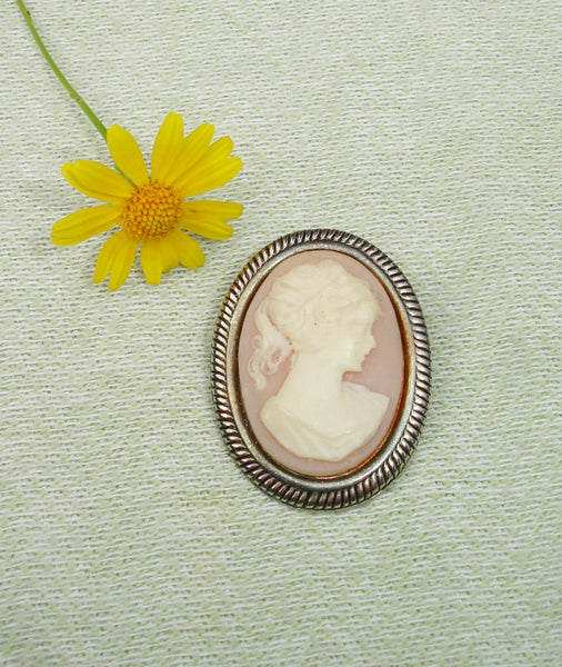 SALE - Pink and Silver Cameo Brooch or Charm