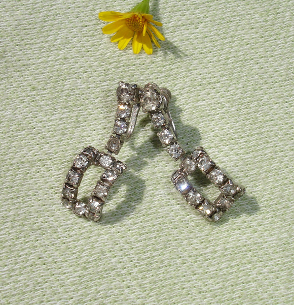 1950's Dangling Rectangle Rhinestone Screw back Earrings