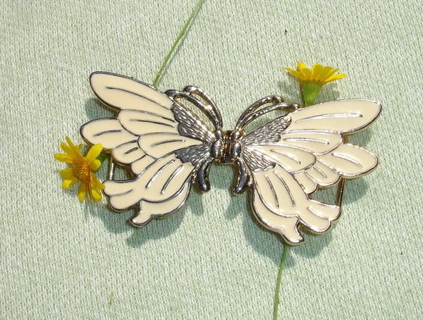 Vintage Goldtone and Ivory Butterfly Belt Buckle