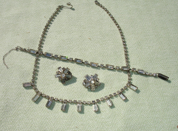 1950's Dangling Rectangle Rhinestone Jewelry Set - Clip on Earrings / Necklace / Bracelet