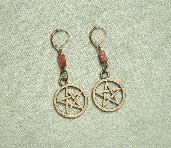 Antique Bronze Pentagram and Goldstone Gemstone Dangle Earrings - European lever backs