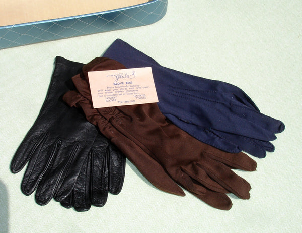 3 Pair of Small Vintage Gloves and Glove Box By Glida