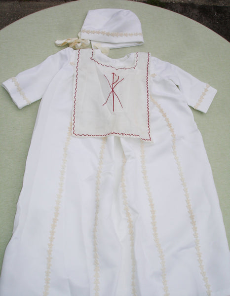 Antique Handmade Baptism Gown with Symbol