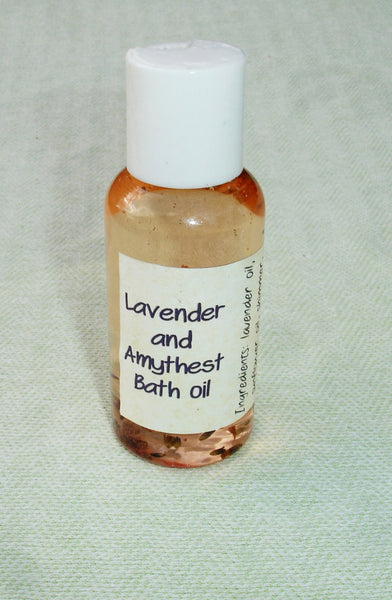 Shimmer Lavender and Amythest Bath Oil with Amythest stone - 3 oz bottle
