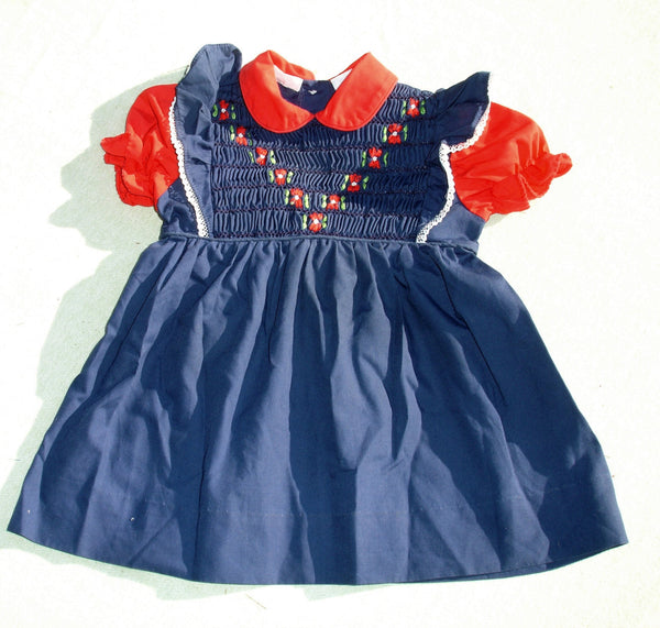 Hand Smocked Toddler Dress - Little Star - Priscilla - Children's Vintage Clothing