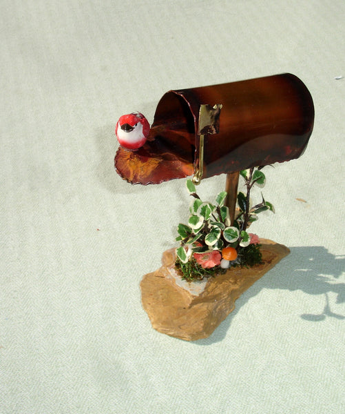 Copper Mailbox with Red Bird Scene - OOAK