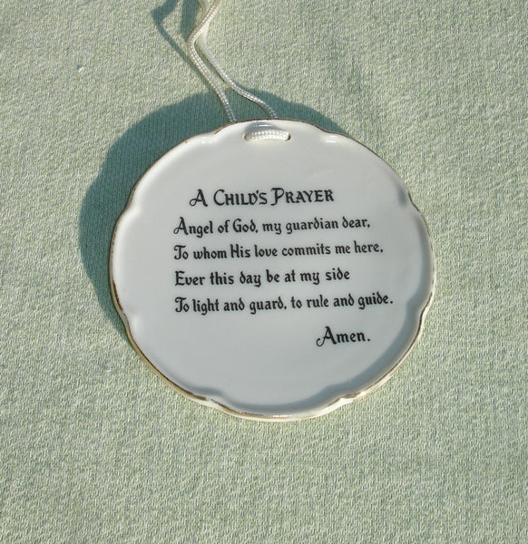 A Child's Prayer Miniature Vintage Decorative Plate with Gold Trim