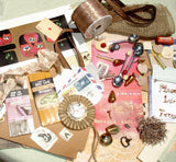 Large Mixed Media Altered Art Inspiration Kit - Found Objects - Brown Owls - Lot 12