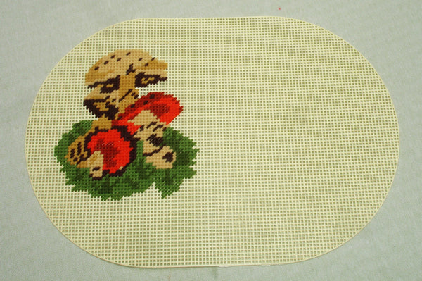 Plastic Mushroom Cross Stitch Place Mat Set - 4 Mats
