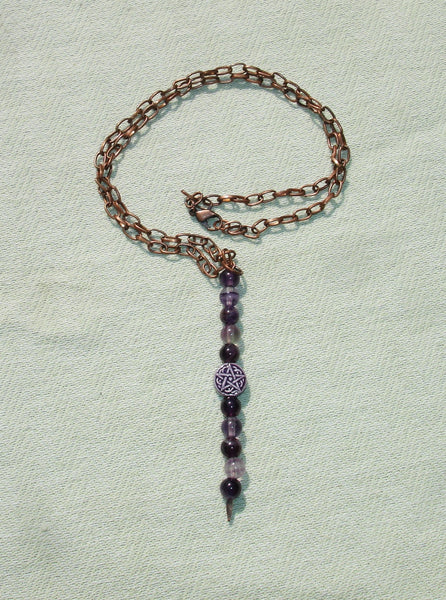 Purple Pentagram and Amethyst Gemstone Copper Necklace - Handmade Wiccan Jewelry