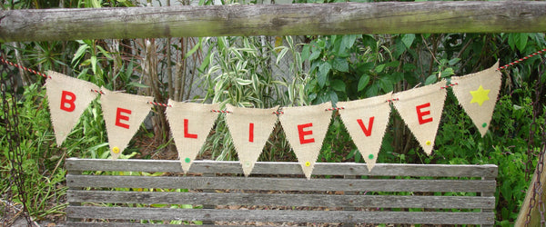 Handmade Believe Burlap Banner with Decorative Buttons