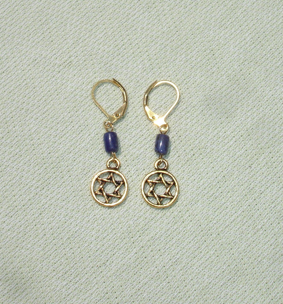 Star of David & Sodalite Gemstone Earrings with Brass European Leverbacks