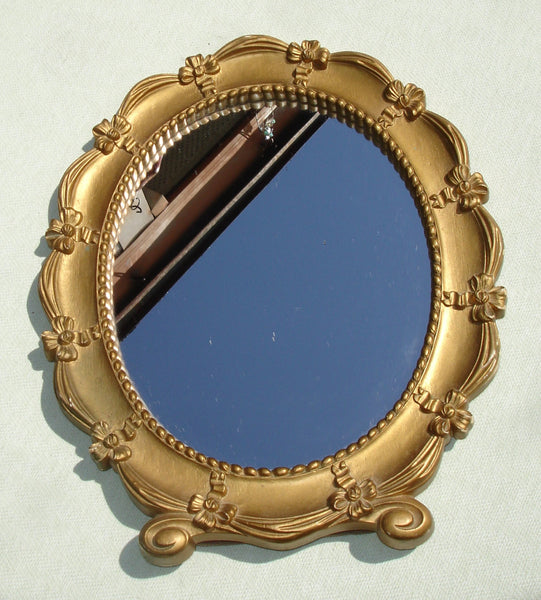 1943 Vintage Syroco Gold Stand Up Vanity Mirror with Ribbon and Bows